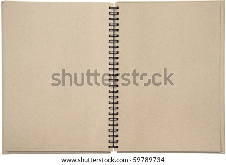 Empty blank two-page spread of a spiral bound note pad binder with tinted paper isolated on white background.