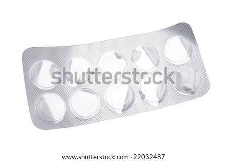 Empty Blister Pill Pack on White Background