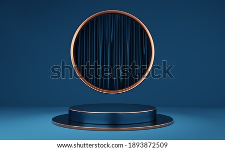 Empty blue and black cylinder podium with copper border on gold circle arch and curtain background. Abstract minimal studio 3d geometric shape object. Pedestal mockup space of product design. 3d rende