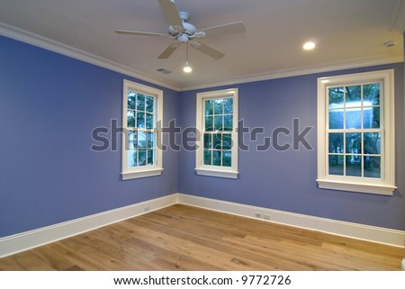 empty blue bedroom, place your own furniture