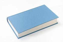 Empty blue book cover on the white background.