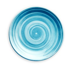 Empty blue ceramic plate with spiral pattern in watercolor styles, View from above isolated on white background with clipping path