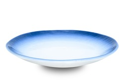Empty blue ceramics plate isolated on white background with clipping path.