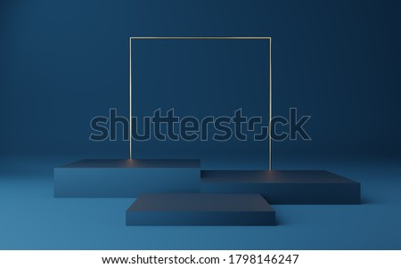 Empty blue cube podium with gold border and gold square on blue background. Abstract minimal studio 3d geometric shape object. Mockup space for display of product design. 3d rendering. Photo stock ©