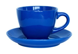 empty blue cup and saucer isolated on white
