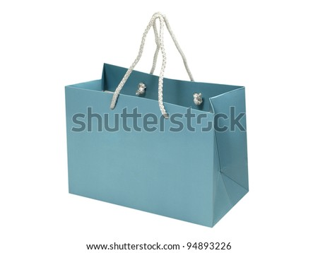 Empty blue gift bag isolated on white background.