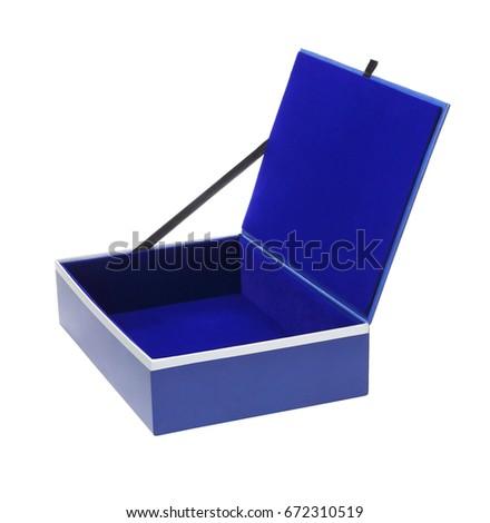 empty blue gift box on white...