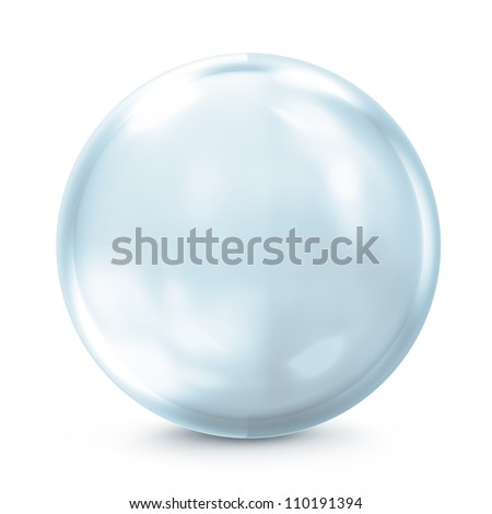 Empty Blue Glass Sphere isolated on white background