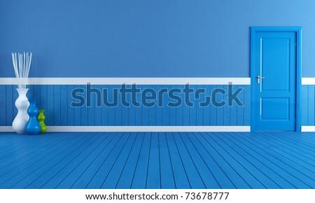 empty blue interior with blue wooden plank and door - rendering