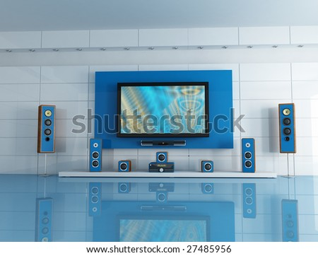 empty blue  living room with home theater system - digital artwork