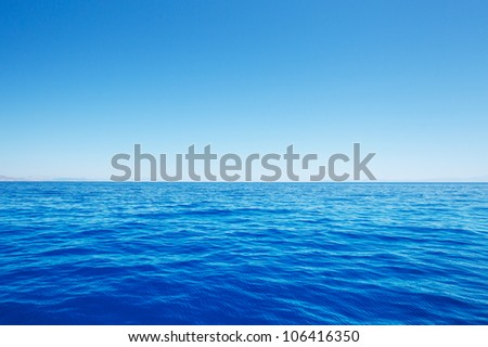 Empty Blue Ocean and Blue Sky