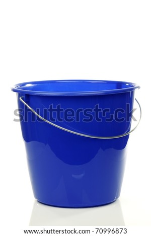 empty blue plastic household bucket on a white background - stock photo