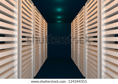 Empty blue room for modern interior of server room in datacenter