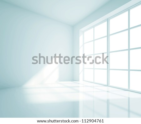 empty blue room with white window