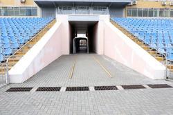 Empty blue seats in stadium