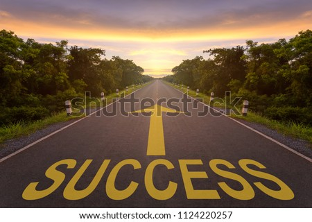 Empty blur asphalt road and sunlight and sign which symbol success. Concept for success. #1124220257