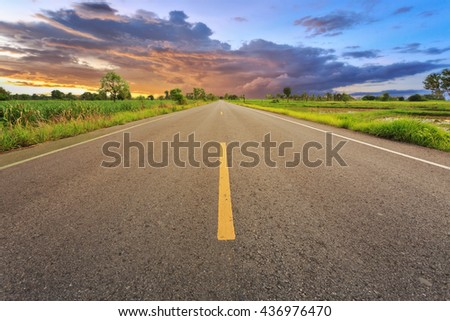 Empty blur asphalt road and sunlight and sign which symbol success. Concept for success. #436976470