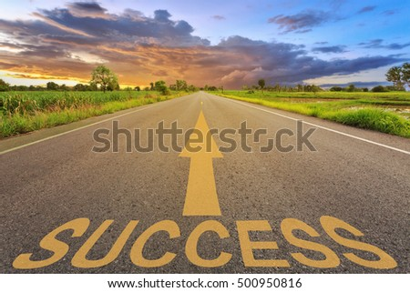 Empty blur asphalt road and sunlight and sign which symbol success. Concept for success. #500950816