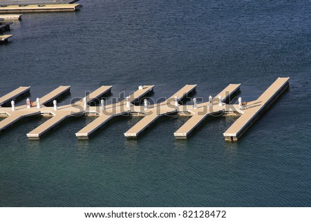 Empty boat dock on the lake aerial view