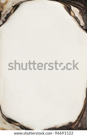Empty book pages with burnt edges - stock photo