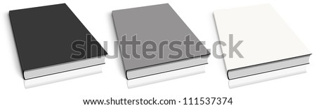 Empty book template on white background.