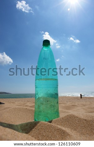 empty Bottle in the beach sand outside