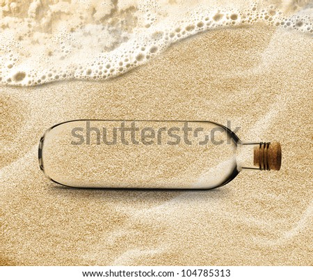 empty Bottle in the beach sand with copy space to add your message inside the Bottle.