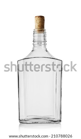 Empty bottle of cognac with cork isolated on white background #210788026