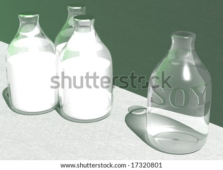 Empty Bottle of Vegan Soy Soya Milk and 3 Full Bottles with a green background