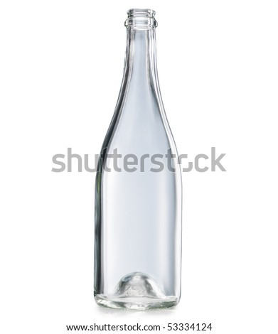 Empty bottle worth on a white background