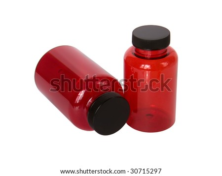 Empty bottles for capsules on a white background
