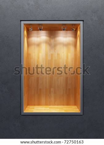 empty boutique showcase, 3d render - stock photo