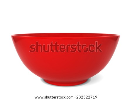 Empty bowl. 3d illustration isolated on white background
