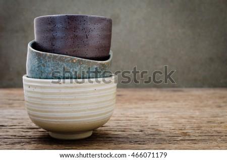 Empty bowl on rustic wood, Japanese handmade ceramic bowl, ceramic texture Stock photo ©