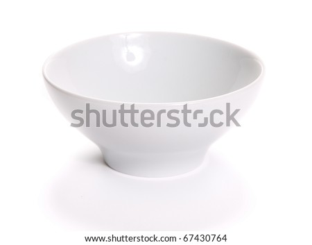 Empty bowl over white background