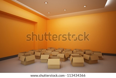 Empty Boxes in the Room - High quality render