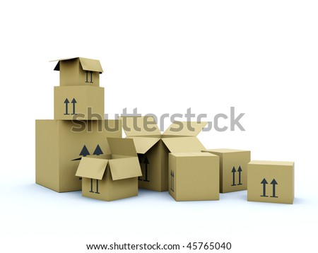 Empty boxes isolated on white