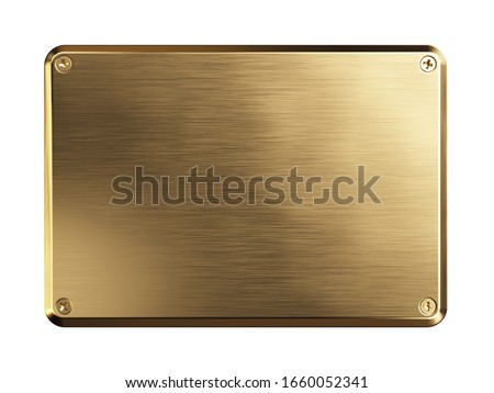 Empty brass metal plate. Clipping path included. 3d illustration Foto d'archivio ©