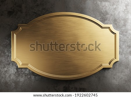 Empty brass metal plate. Vintage, steampunk style. Clipping path included, 3d illustration Photo stock ©