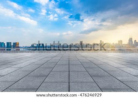 empty brick floor with city skyline background #476246929