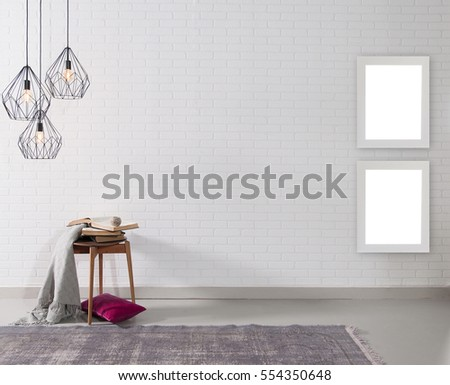 empty brick wall and lamp with rug living room concept, frame #554350648