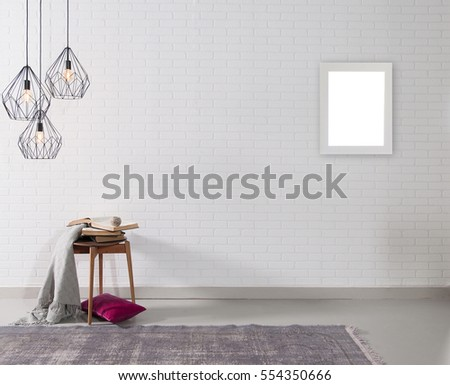 empty brick wall and lamp with rug living room concept, frame #554350666