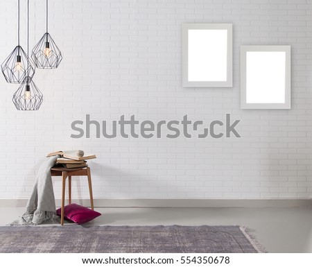 empty brick wall and lamp with rug living room concept, frame #554350678