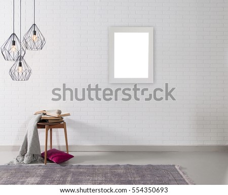 empty brick wall and lamp with rug living room concept, frame #554350693