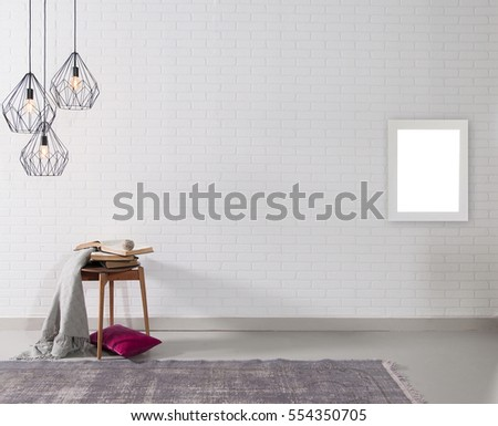 empty brick wall and lamp with rug living room concept, frame #554350705