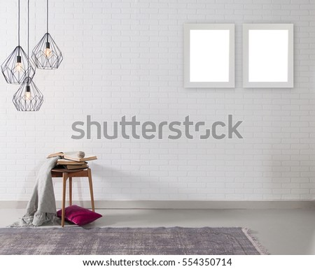 empty brick wall and lamp with rug living room concept, frame #554350714