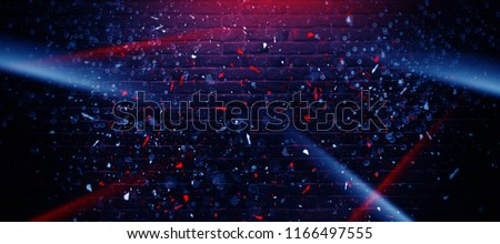 Empty brick wall background, night view, neon light, rays. Celebratory background.