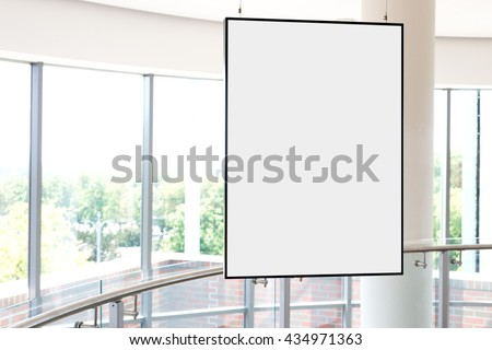 Empty bright art gallery with blank pictures on the walls, mock up #434971363