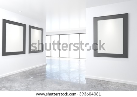 Empty bright art gallery with blank pictures on the walls, mock up, 3D Render