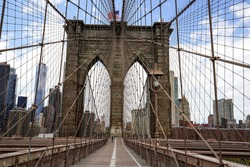 Empty Brooklyn Bridge during the coronavirus (COVID-19) pandemic lockdown in New York City